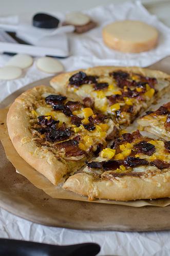 Potato Gouda and Candied Bacon Pizza