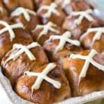pan of hot cross buns