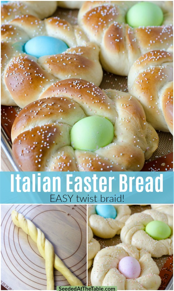 Italian Easter Bread is a soft sweet bread with an Easter egg baked in the middle and topped with sprinkles.  This simple braided bread recipe includes easy step-by-step photos and a video.  Your guests will be impressed and enjoy having their own edible Easter nests!