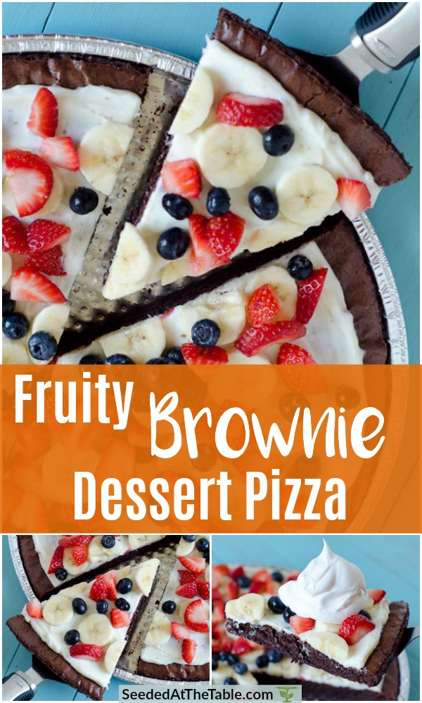 This Fruity Brownie Dessert Pizza comes together quickly with a boxed brownie mix and a fruity cream cheese frosting.  Top off with a dollop of whipped cream and you have the easiest dessert ever!