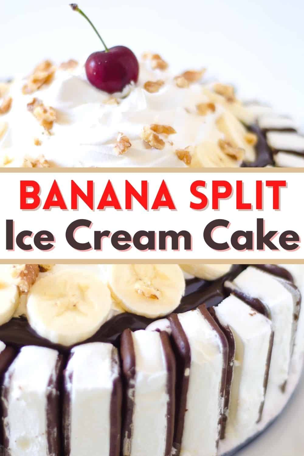 This banana split cake is the perfect all-American summer dessert! You will love this easy ice cream sandwich cake!