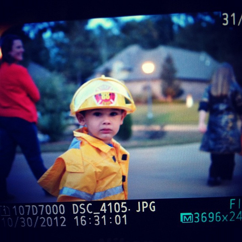 My little fire fighter last night.