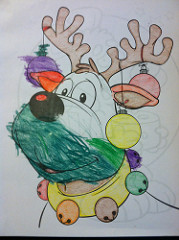 judah coloring reindeer with grandma