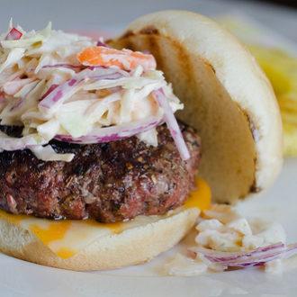 Island Jerk Burgers with Zesty Lime Coleslaw
