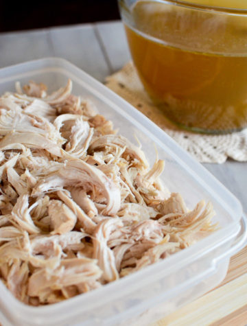 Shredded cooked chicken is one of the most used ingredients in my recipe collection. Here's how I have a large supply of perfectly moist shredded chicken readily available, along with a fabulous homemade chicken broth.
