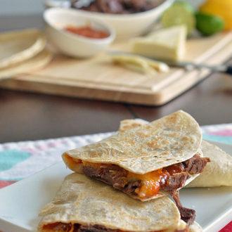 Brisket Quesadillas with Mango Barbecue Sauce