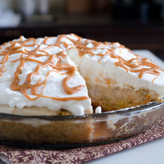 Roasted Banana Cream Pie with Butterscotch Ganache