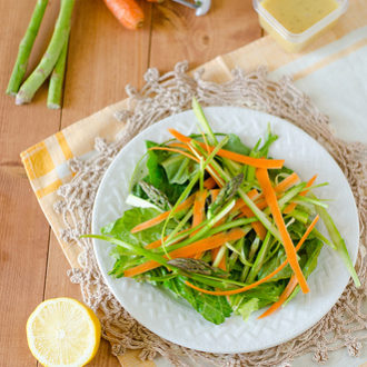 Shaved Asparagus and Carrot Salad with a Creamy Citrus Dressing