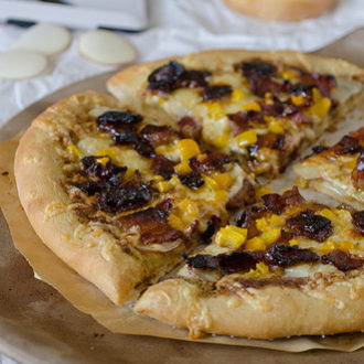Potato, Gouda and Candied Bacon Pizza