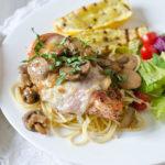 Prosciutto & Fontina Chicken with a Lemon Mushroom Cream Sauce