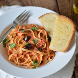 Fettuccine with Tomato-Cream Sauce