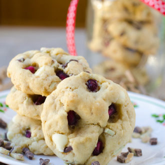 Pomegranate White Chocolate and Mint Chip Cookies
