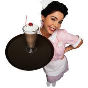 Waitress Carrying Chocolate Milkshake with Whipped Cream