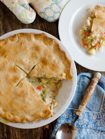 Use refrigerated pie crusts for this otherwise all-homemade and quick version of Chicken Pot Pie.