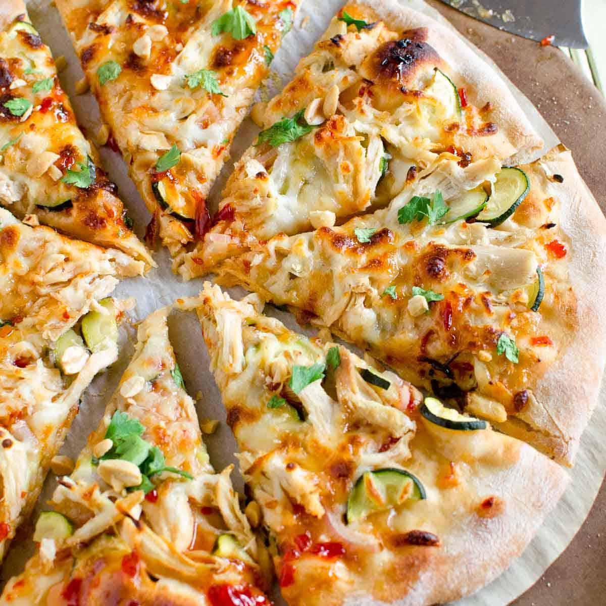 slices of leftover chicken thai pizza