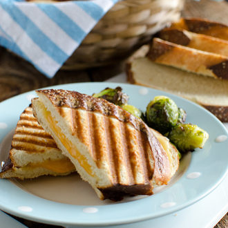 Grilled Cheese Panini on Pretzel Bread