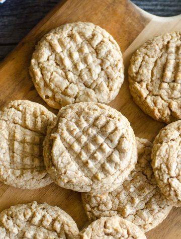 peanut butter cookies spread on platter