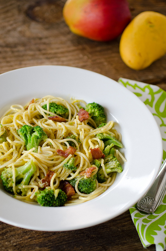 Spaghetti with Bacon Broccoli and Brown Butter Mango Sauce