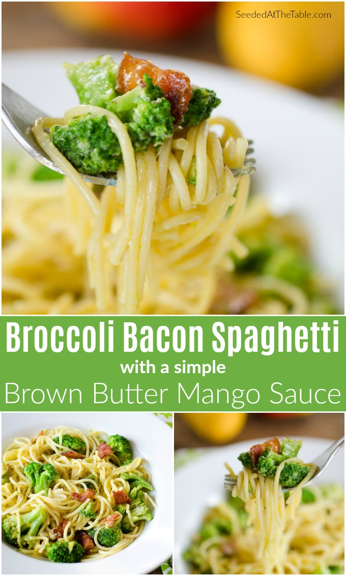 pinterest collage for broccoli bacon spaghetti and mango sauce