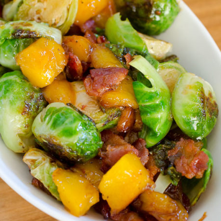 Mango and bacon makes these Brussels Sprouts a favorite sweet and salty side dish! Serve Brussels Sprouts with Mango and Bacon to turn any Brussels sprouts hater into a fan!