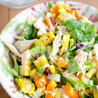 Salad Sundays: Chicken and Grilled Corn Salad with Greek Yogurt Vinaigrette