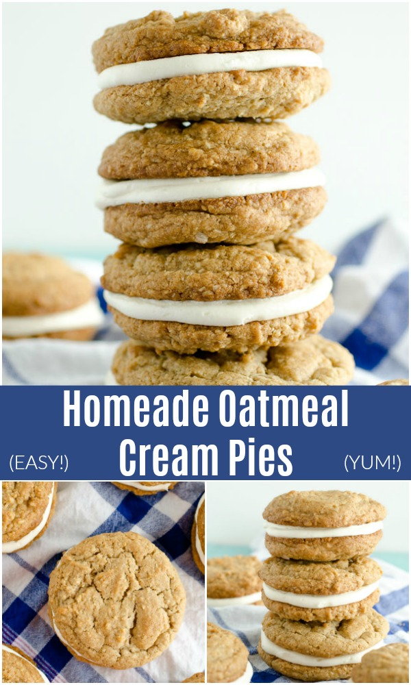 These Homemade Oatmeal Cream Pies are an easy copycat of the Little Debbie favorite. The chewy oatmeal cookies and fluffy filling make these sandwich cookies better than store-bought!