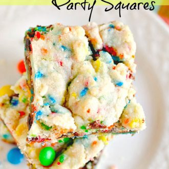 Put Krusteaz's new Molten Deep Dish Cookie mix to use and whip up these sugar cookie bars that have a layer of chocolate and are peppered with sprinkles.