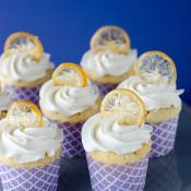 Lemon Cupcakes with Candied Lemon Chips