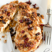 Almond Crusted Chicken with Cashew Butter and Roasted Cranberries