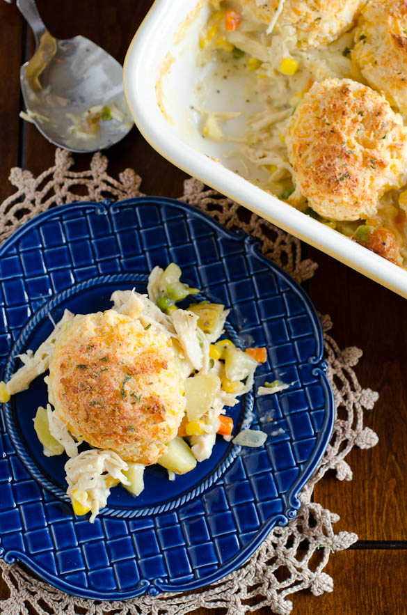 Cheesy garlic biscuits crusted over my favorite homemade chicken pot pie.
