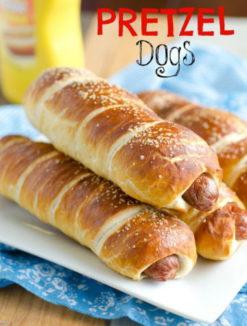 Warm soft pretzel bread twisted around our American favorite hot dog.