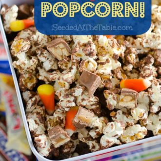 Candy Bar Popcorn by SeededAtTheTable.com