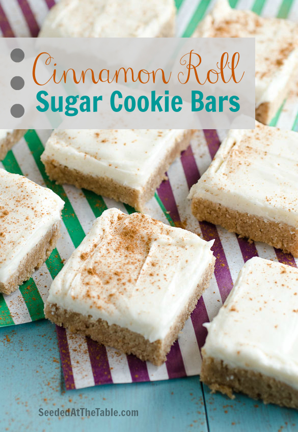 Cinnamon Roll Sugar Cookie Bars by SeededAtTheTable.com