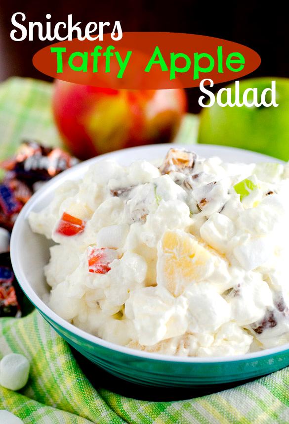 Snickers Bar Taffy Apple Salad by SeededAtTheTable.com