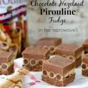 Chocolate Hazelnut Pirouline Fudge by SeededAtTheTable.com - Easy to make in the microwave! Stack Pirouline rolled wafers between to layers of fudge!