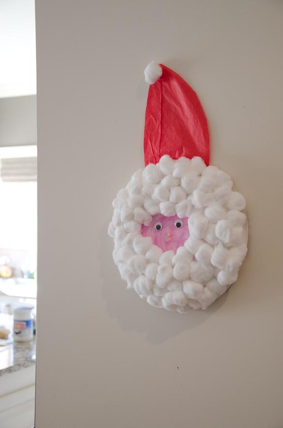 Santa Craft by SeededAtTheTable.com - paper plate, glue, cotton balls
