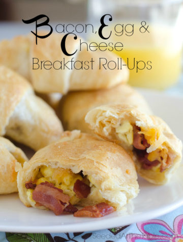 Bacon, Egg & Cheese rolled into refrigerated crescent rolls for a breakfast in one! by SeededAtTheTable.com