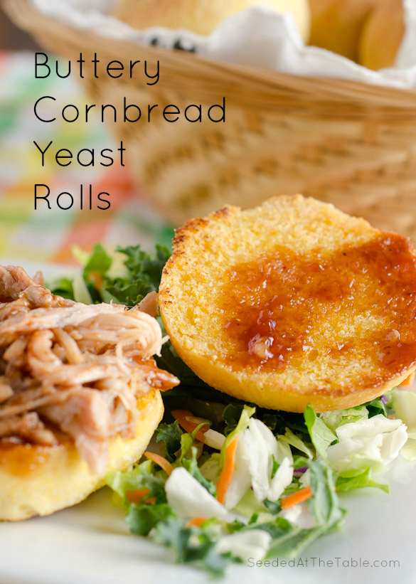 Buttery Cornbread Yeast Rolls - sliced in half, toasted in more butter then served with your favorite shredded BBQ meat.