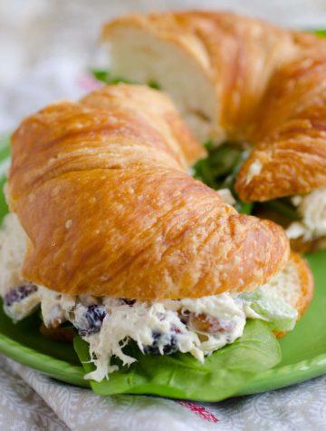 chicken salad sandwich on a croissant