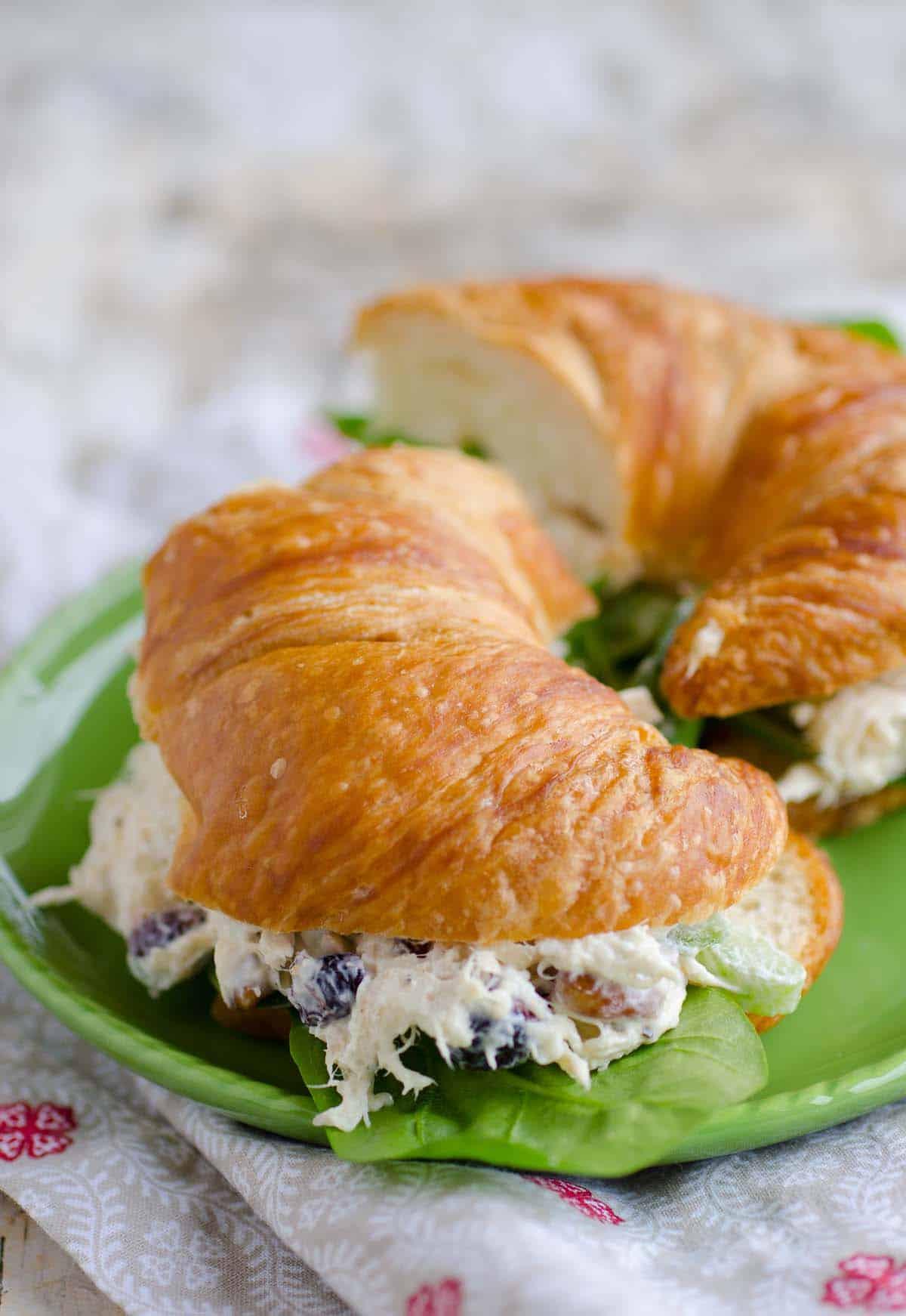 chicken salad on a croissant