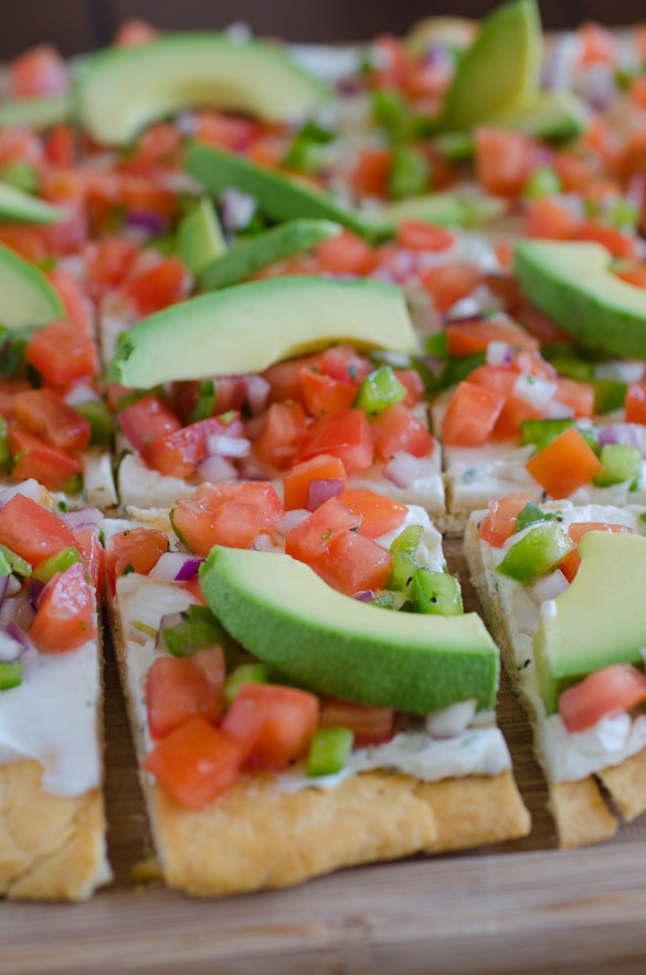 Fresh Salsa & Cream Cheese Pizza Appetizer by SeededAtTheTable.com