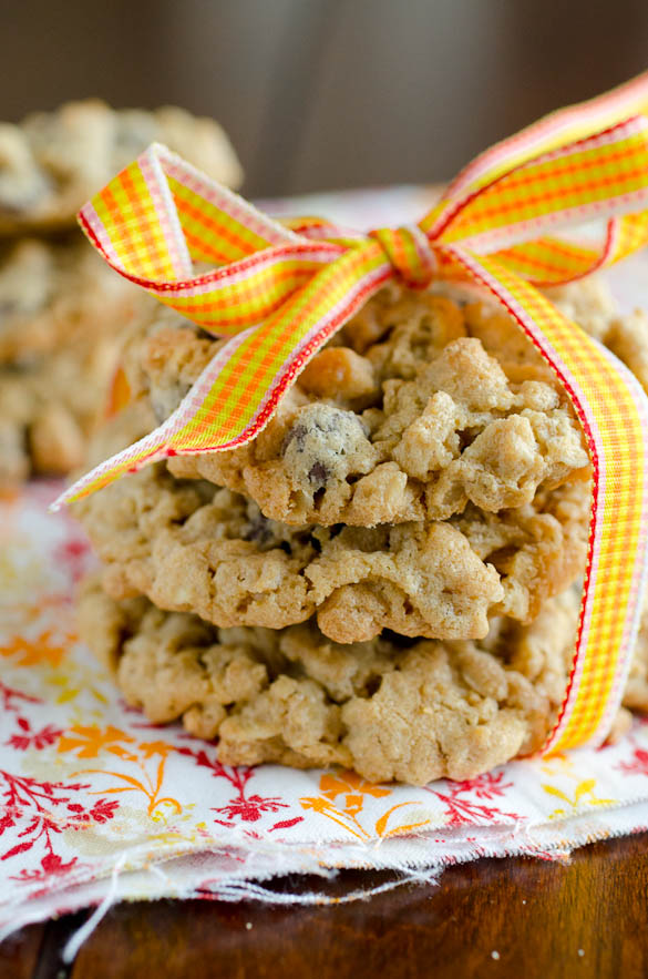 Monster Cookies - oatmeal based cookies that yield a monstrous amount.  SeededAtTheTable.com