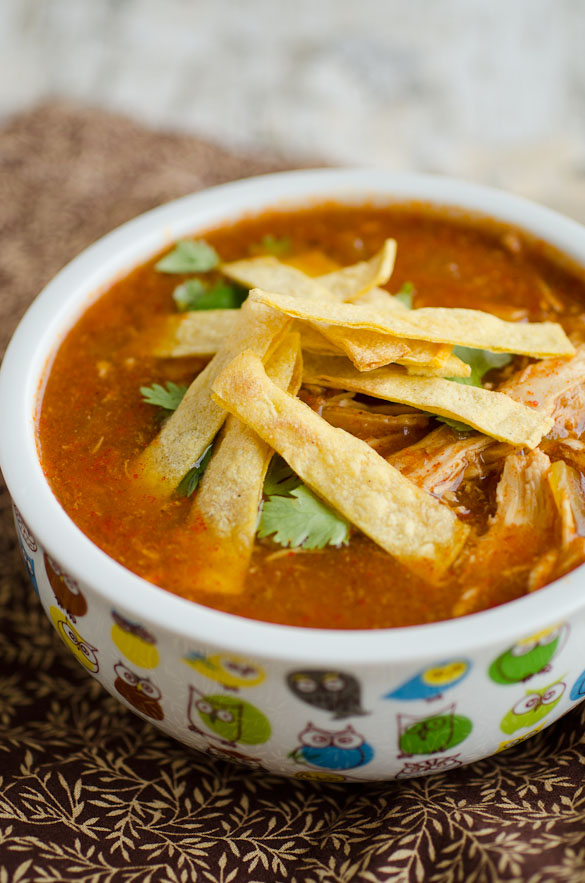 bowl of mexican soup topped with tortillas