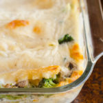 Pan of vegetable lasagna.