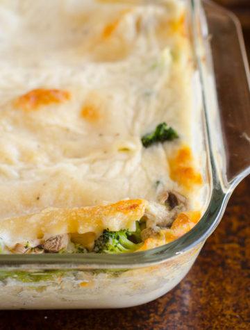 Pan of vegetable lasagna.