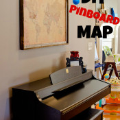 DIY Pinboard World Map - With just a few inexpensive items, you can make your own push pin map! SeededAtTheTable.com