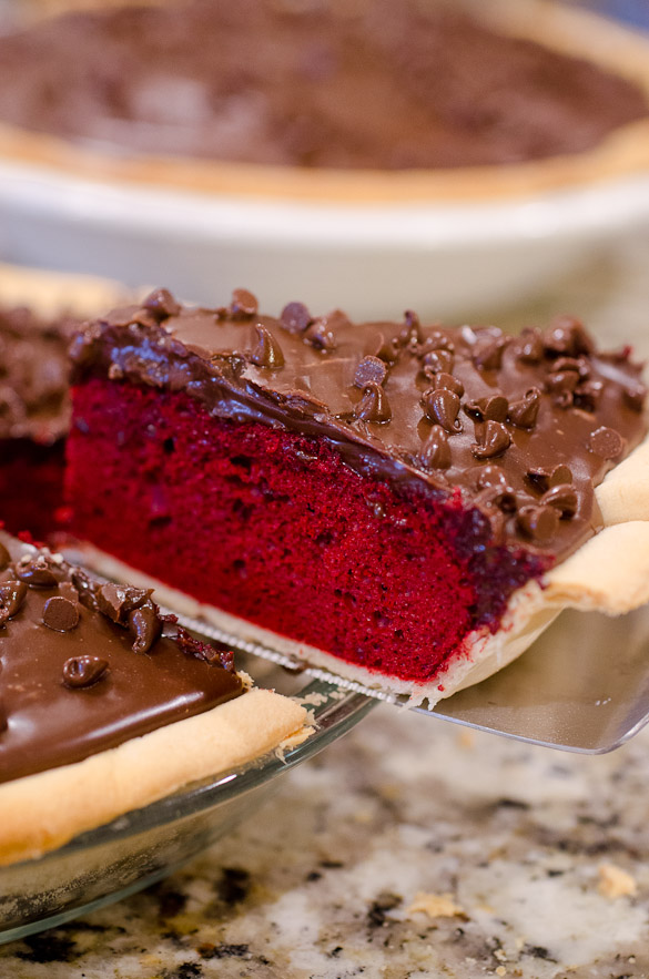 Slice of Red Velvet Cake Pie.