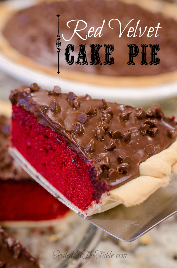 Title photo for a slice of red velvet cake pie.