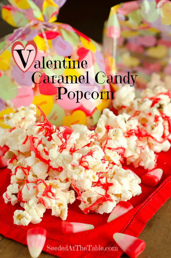 Valentine Caramel Candy Popcorn - Valentine Candy Corn melted on top of popcorn by SeededAtTheTable.com