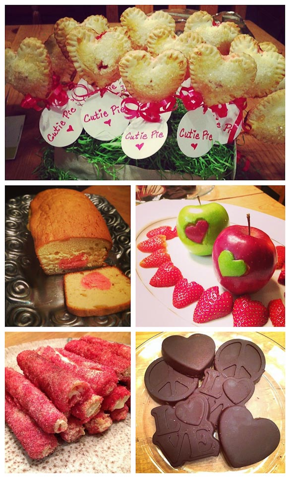 Collage of homemade valentines treats.